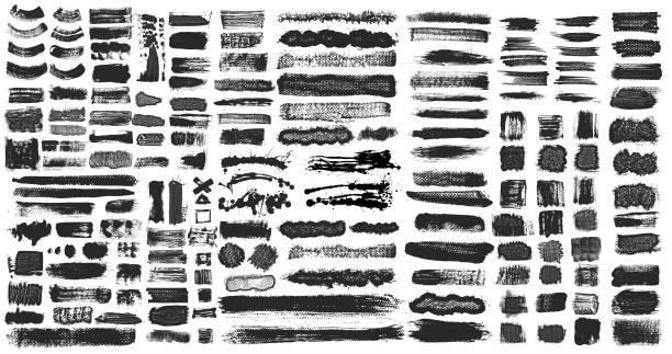 ilustrações, clipart, desenhos animados e ícones de grunge brush stroke tinta caixas backgrounds - grunge