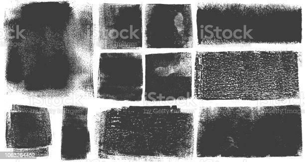 Grunge Brush Stroke Verf Vakken Achtergronden Stockvectorkunst en meer beelden van Abstract