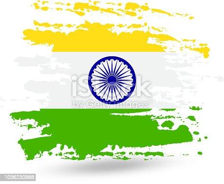 Ilustración de Trazo De Pincel Grunge Con Bandera Nacional De India ...