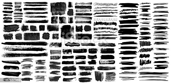 istock Grunge Brush Stroke with Pen Scribble Brushes 1187632983
