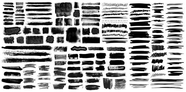 ilustrações, clipart, desenhos animados e ícones de pincelada de grunge com pincéis pen scribble - grunge