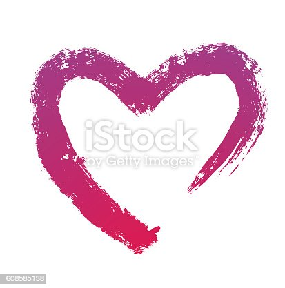 istock Grunge brush strokes, purple heart symbol 608585138