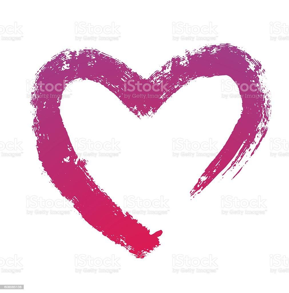 Grunge brush strokes, purple heart symbol vector art illustration