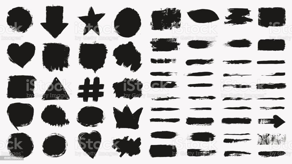 Grunge brush strokes set - Illustration vectorielle