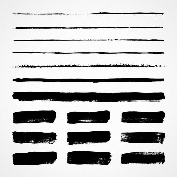 grunge szczotki udar - linia stock illustrations