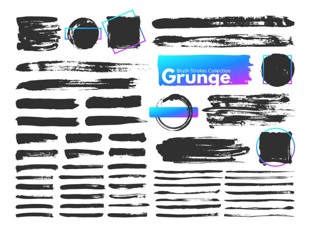 grunge brush strokes. watercolor paintbrush stroke line. dirty square frames, messy brushes and decoration rectangular frame vector set - szczotkować stock illustrations