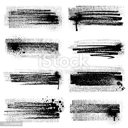 Vector set of grunge brush strokes with splashes