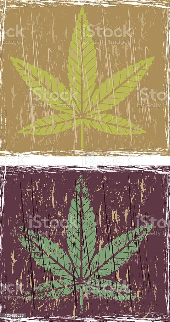 Grunge cannabis two. royalty-free stock vector art