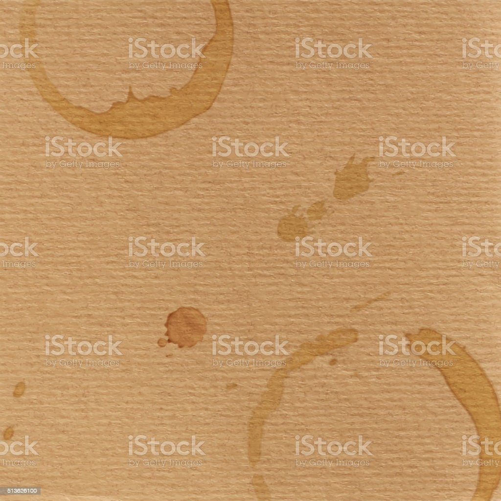 grunge cardboard texture and coffee blobs vector art illustration
