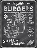 A Grunge Chalkboard Fast Food Menu Template, with elegant text ideas and high quality fast food illustrations for an hamburger and French fries.