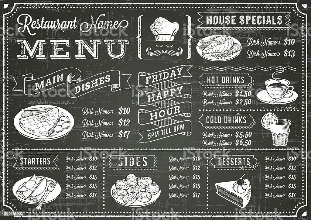 Grunge Chalkboard Restaurant Menu Template vector art illustration