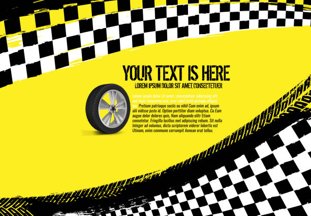 Grunge checkered racing background Grunge checkered racing background with tire imprints elements. Landscape vector illustration in yellow, black and white colors. Automotive rallying concept in modern style. auto racing stock illustrations