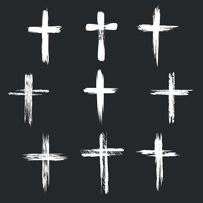 Grunge christian cross icons
