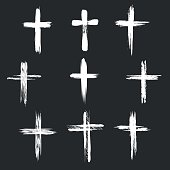 Grunge christian cross icons