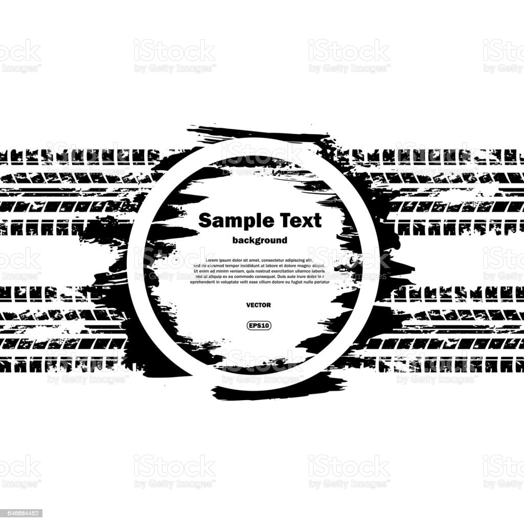Grunge circle with text and tire track vector art illustration