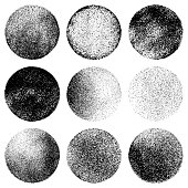 Set of nine grunge circles. Vector design elements isolated black on white background.
