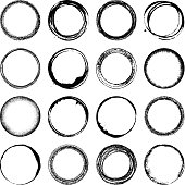 Vector illustration. Set of 16 grunge circles. All the circles feature different textures and are executed in black.