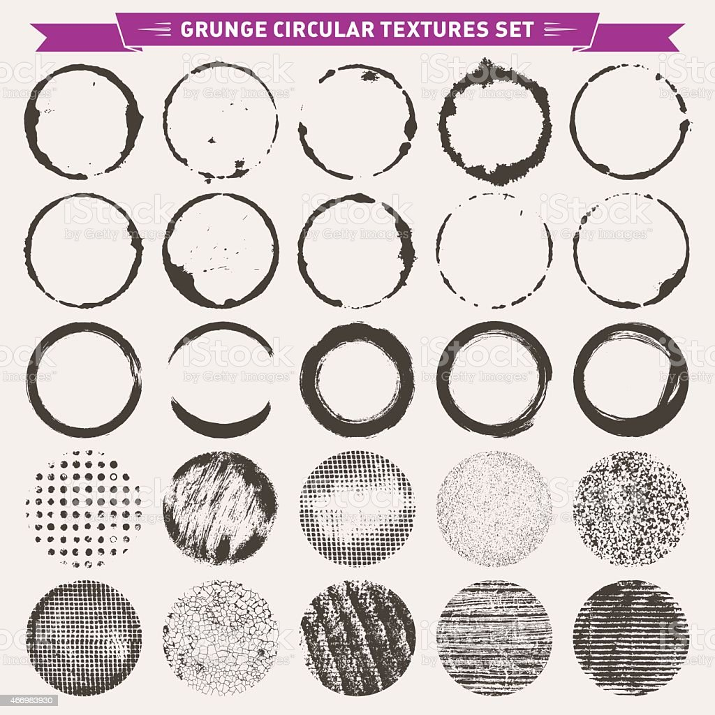 Grunge Circular Texture Backgrounds Frames 2 Vector vector art illustration