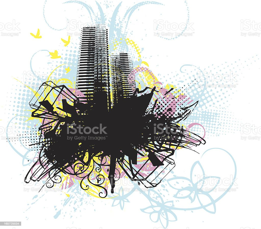 grunge city abstract vector art illustration