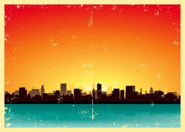 stockillustraties, clipart, cartoons en iconen met grunge city landscape - twilight