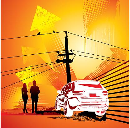 grunge City Skyline and 50's retro car silhouette illustration