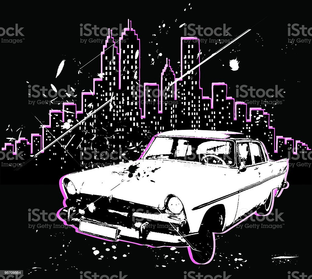 grunge City Skyline and 50's retro car silhouette illustration