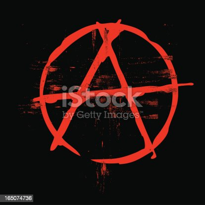 Grunge classic anarchy symbol in black and red colors. Colors can be easily changed and it's easy to edit saving your time.