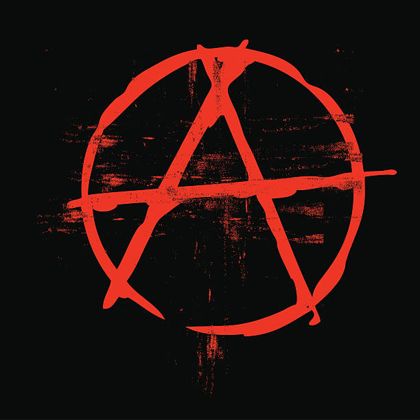 stockillustraties, clipart, cartoons en iconen met grunge classic anarchy symbol in black and red colors - chaos