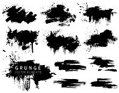 Grunge collection with black brush strokes and splashes. Vector ink blots, brushs. Isolated drawn design elements on white background