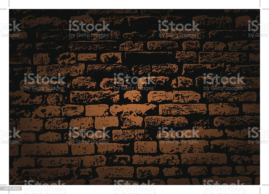 Grunge color brick wall vector art illustration