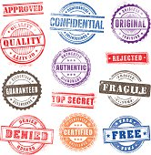 Collection of 12 Hi detail commercial grunge multicolored stamps