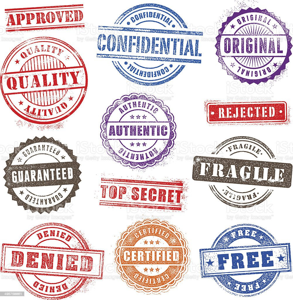 Grunge Commercial Stamps Set2 vector art illustration