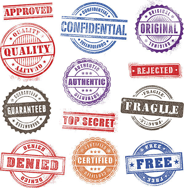 Grunge Commercial Stamps Set2 Collection of 12 Hi detail commercial grunge multicolored stamps fragility stock illustrations