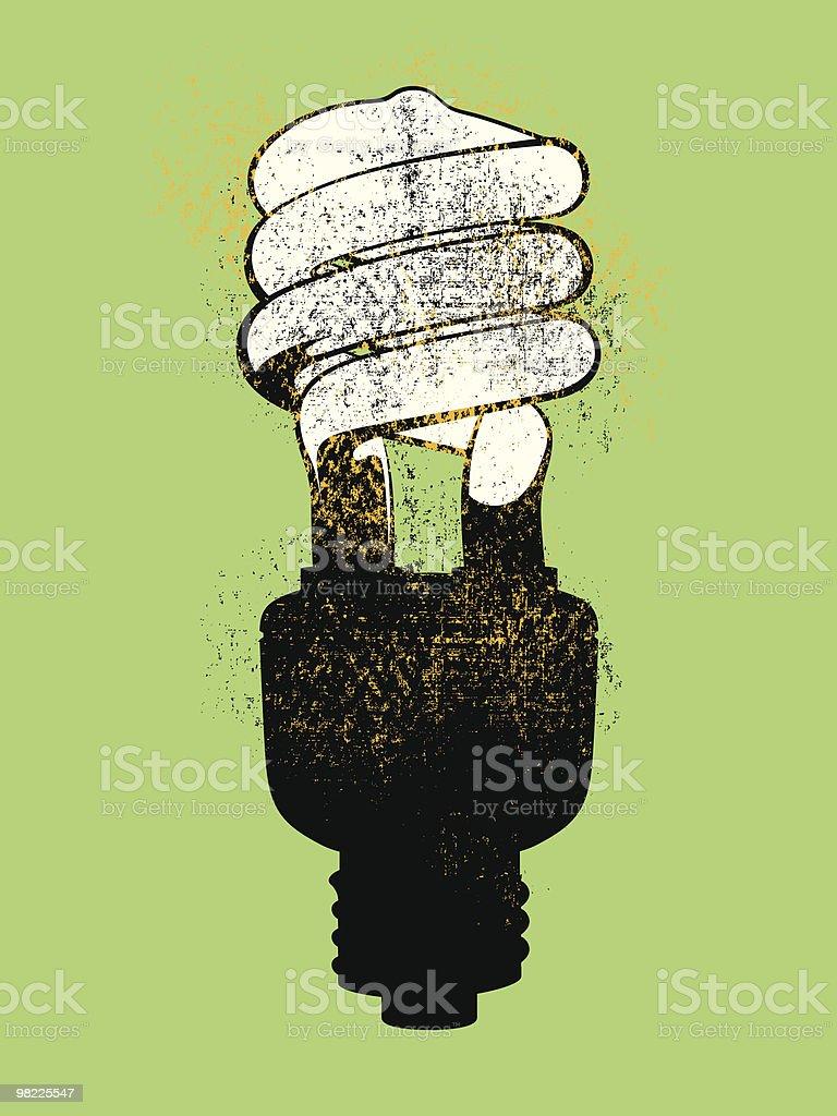 Grunge lampadina fluorescente compatta grunge lampadina fluorescente compatta - immagini vettoriali stock e altre immagini di attrezzatura per illuminazione royalty-free