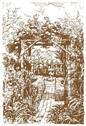 Grunge cottage garden illustration