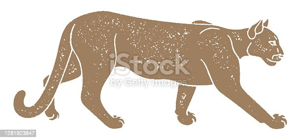 One-color vector illustration of a walking cougar side view in a retro style with a grunge grainy texture.