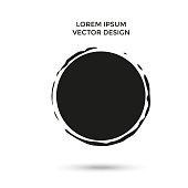 Grunge creative painted circle for logo, label, branding. Black brush stain texture. Vector illustration.