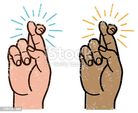 A simple  graphic illustration of a hand with fingers crossed, comes in two versions.