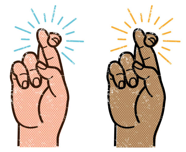 Grunge crossed fingers vector art illustration