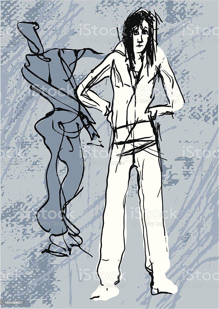 Grunge Dancers on Blue royalty-free grunge dancers on blue stock vector art & more images of adolescence
