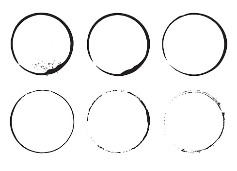 Grunge design element ink circles. Set of cofee ring stains. Black round frames on a white background.