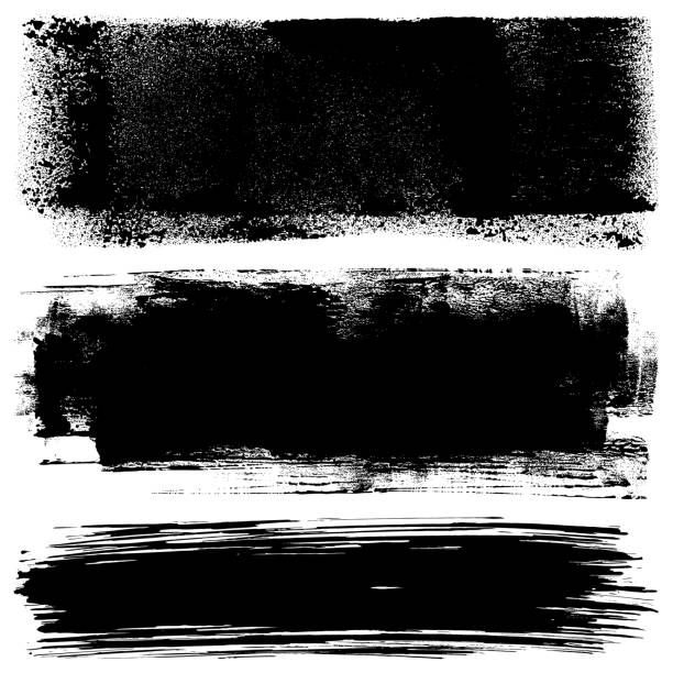 Grunge design elements. Paint roller and brush strokes Set of grunge design elements. Black texture backgrounds. Paint roller strokes. Isolated vector image black on white. paint roller stock illustrations