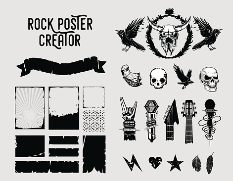 Grunge design elements. Sign and frame set for music posters.
