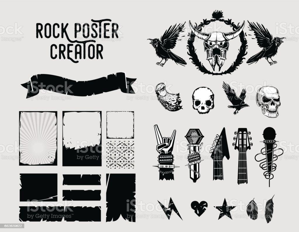 Elementos de design do grunge. Sinal e quadro definido para cartazes de música. - ilustração de arte em vetor