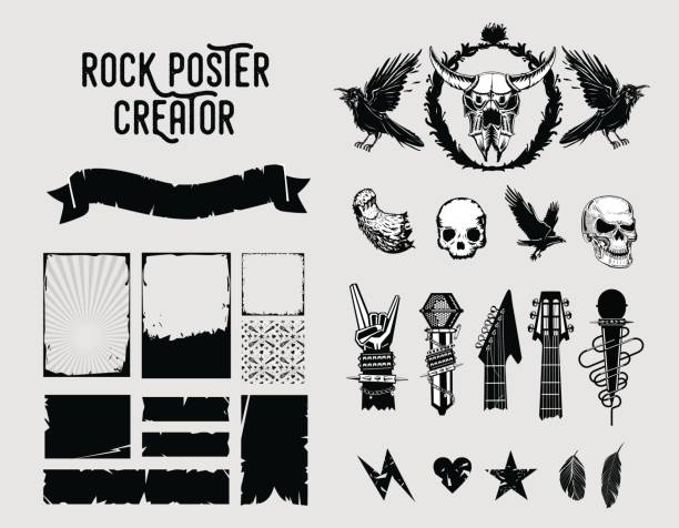 grunge design elements. sign and frame set for music posters. - rock n roll stock illustrations, clip art, cartoons, & icons