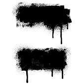 Grunge design elements. Black texture backgrounds. Paint roller strokes with spray paint. Isolated vector image black on white.