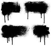 Set of grunge design elements. Black texture backgrounds. Paint roller strokes with spray paint. Isolated vector image black on white.