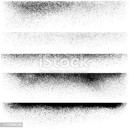Horizontal grunge design elements. Set of vector texture edges.