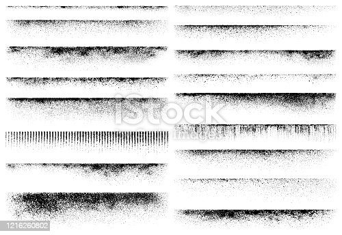 Horizontal grunge design elements. Set of vector texture edges.