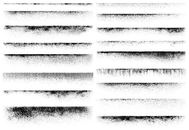 Grunge design elements, texture edges Horizontal grunge design elements. Set of vector texture edges. weathered stock illustrations